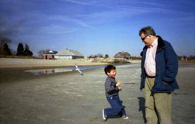 Andrew, Paul and seagull on Long Island Sound - November 2001